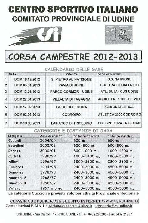 Calendario Csi.Calendario Csi 2012 2013 Gruppo Sportivo Natisone